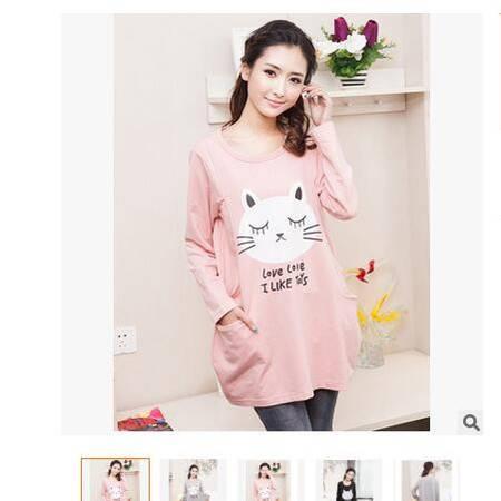 甜美时尚休闲秋季孕妇哺乳衣猫咪印花长袖喂奶衣上衣连衣裙简曼