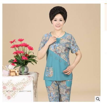 妈妈装新款短袖T恤中年人夏季大码两件套中老年女装夏装套装系卖