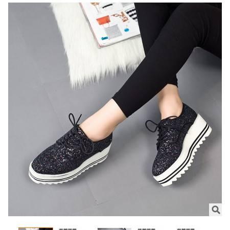 韩版增高鞋浅口系带单鞋女新款松糕跟亮片女鞋包邮