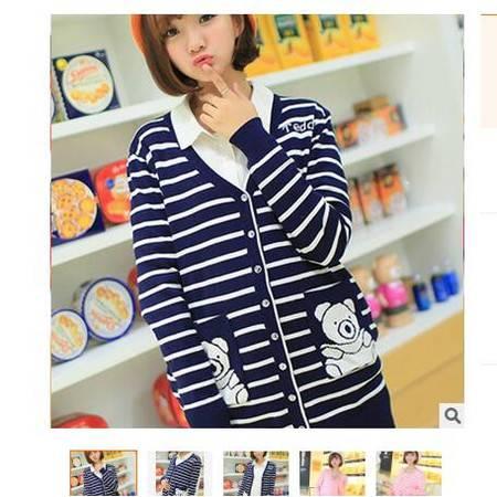 2016春装新款韩版孕妇装条纹中长款宽松大码针织衫开衫外套简曼
