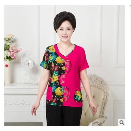 中国风棉麻妈妈装中年女装老年人中老年女装夏装短袖T桖套装系卖