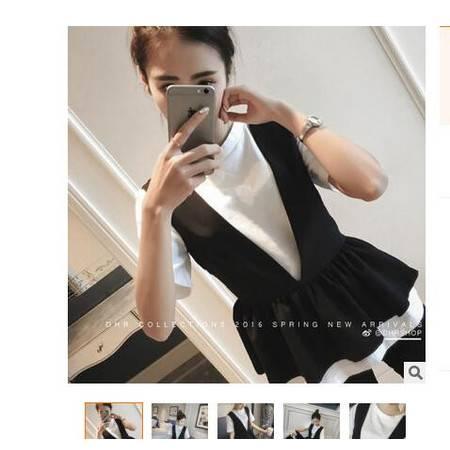 2016春装新款韩国韩版短袖T恤百褶黑白拼色背心两件套装女装简曼