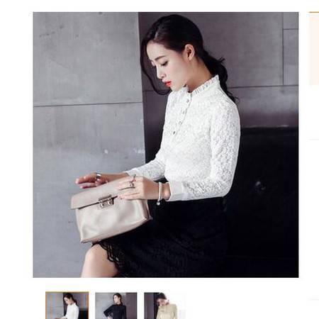蕾丝衫女秋装新款韩版女装蕾丝衫上衣春打底衫长袖白衬衫简曼