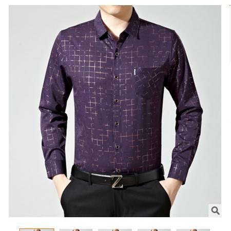 休闲百搭简约衬衫合体薄款春季男士中年新款衬衫时尚长袖翻领格子尊霸包邮