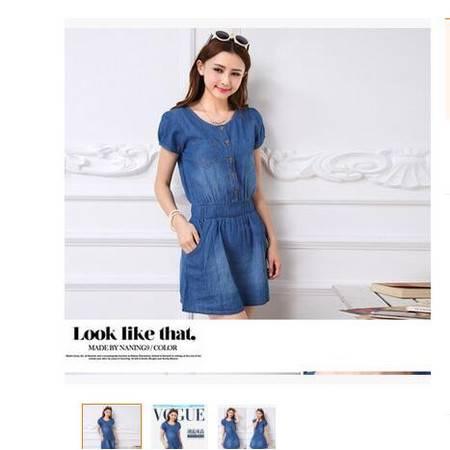 夏季新款女装短裙显瘦收腰修身牛仔裙女连衣裙韩版简曼