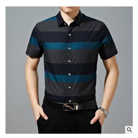 开衫丝光棉衬衣新款男装夏衬衫男式中年休闲短袖尊霸