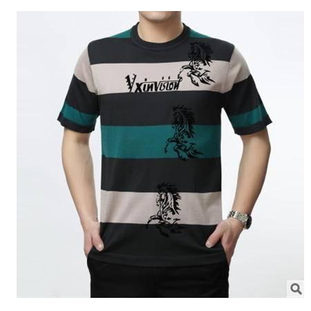 印花桑蚕丝圆领休闲条纹t恤男士夏季新款时尚套头短袖T恤尊霸