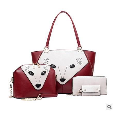 手提单肩斜跨百搭女包欧美时尚新款狐狸脸四件套子母包征途包邮