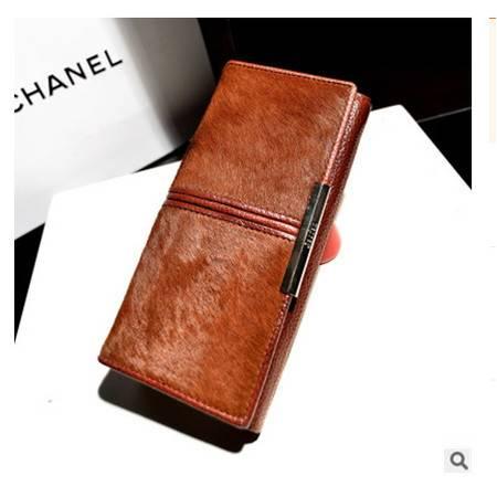 多卡位多隔层零钱包手机包韩版时尚新款中分马毛真皮女士钱包征途