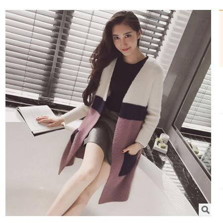 夹条拼色中长款女式针织开衫毛衣外套女2016春装新款女装韩版粉黛