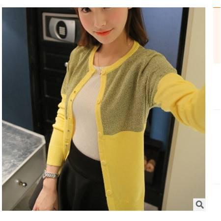 韩版圆领长袖亮丝拼色女式针织开衫外套披肩女2016春装新款女装粉黛