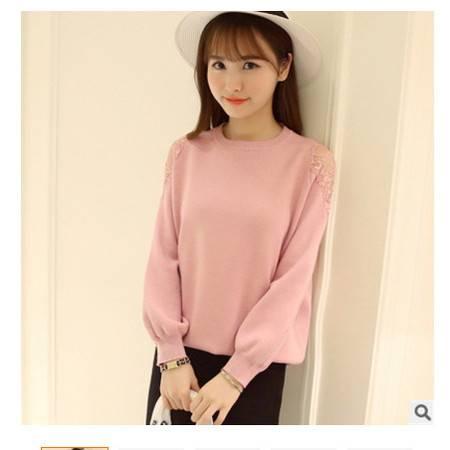 蕾丝泡泡袖圆领长女式针织衫套头毛衣女实拍2016韩版春季新款女装粉黛