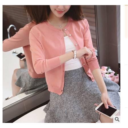 韩版女式圆领长袖针织开衫外套披肩女实拍2016韩版春季新款女装粉黛