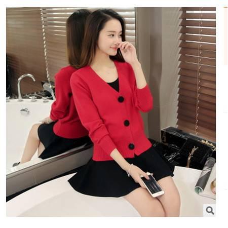韩版V领长袖三粒扣女式针织开衫外套披肩女实拍2016春装新款女装粉黛