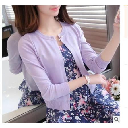 圆领长袖女式针织开衫珍珠披肩外套女实拍2016韩版春夏新款女装粉黛