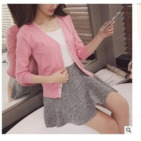 V领长袖修身女式针织拼色开衫外套披肩女2016韩版春夏新款女装粉黛
