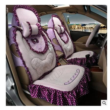 夏季新款女士汽车坐垫卡通坐垫冰丝汽车座垫卡通可爱蝴蝶结 豪远包邮