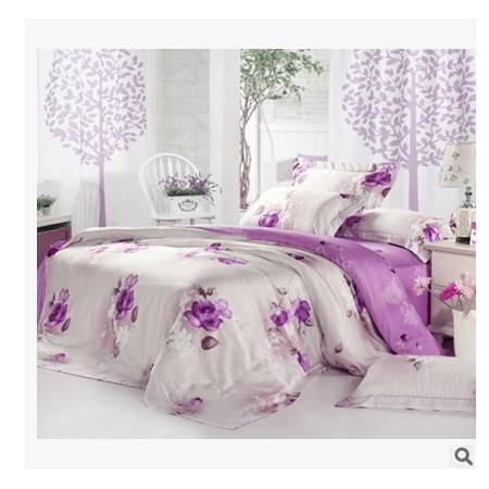 单双人床上用品全棉四件套精美罗莱家纺40支双面天丝四件套幻桃包邮
