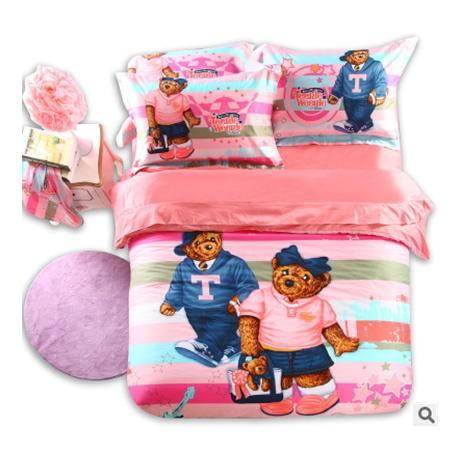 学生床上用品四件套精美罗莱 活性全棉卡通绣花四件套 幻桃包邮