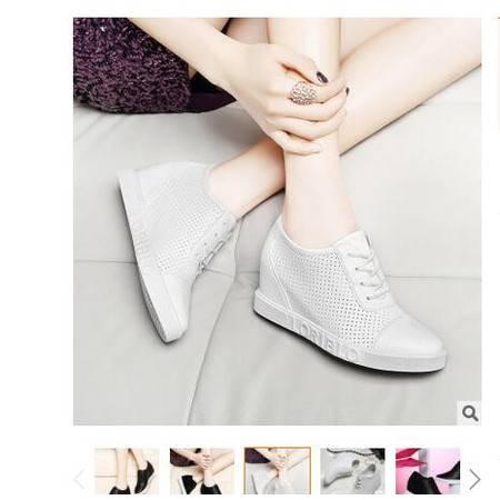 莱卡金顿春季新款内增高单鞋女平底英伦风女鞋系带时尚透气休闲鞋莱卡金顿