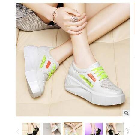女松糕鞋运动鞋女韩版学生厚底休闲鞋女鞋系带圆头跑步鞋莱卡金顿
