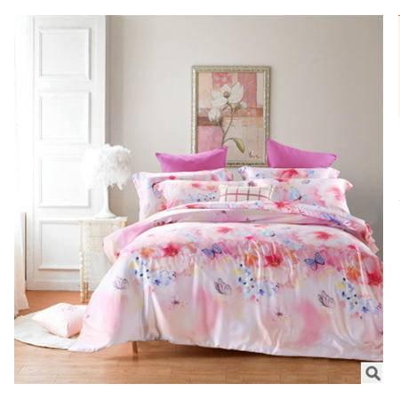 单双人床上用品全棉四件套精美富安娜40支双面天丝四件套幻桃包邮