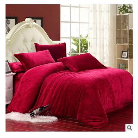 超柔保暖床单、床笠款四件套精美富安娜 纯色加厚法莱绒四件套幻桃包邮