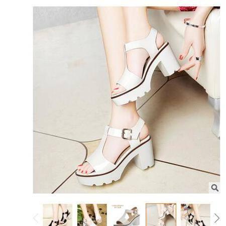 2016夏季新款镜面漆皮女凉鞋搭扣粗跟防水台休闲鞋厚底鞋莱卡金顿