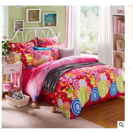 加厚保暖床单 床笠式法莱绒四件套精美罗莱新款 法莱绒四件套幻桃包邮