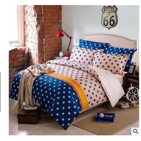 全棉斜纹半活性印花多规格床单式床上用品四件套优里卡包邮