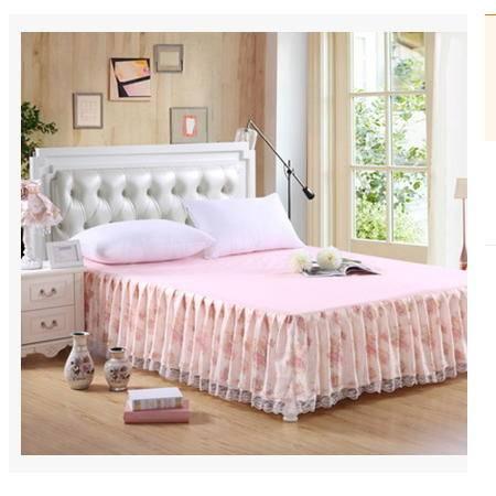 全棉荷叶边床罩批发席梦思床垫保护罩韩版田园风格 公主蕾丝床裙优里卡