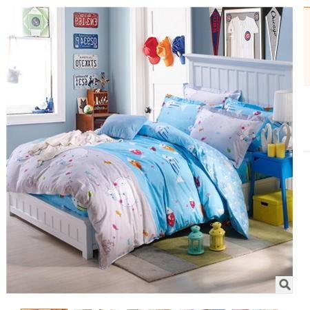 全棉斜纹活性印花多规格床笠式四件套床上用品优里卡包邮