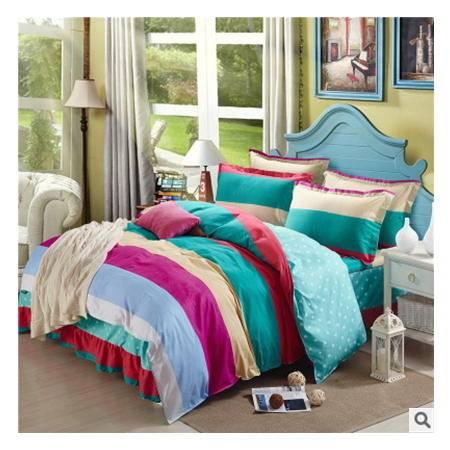 全棉床上用品 舒适柔软四件套100%纯棉床裙式四件套 优里卡包邮