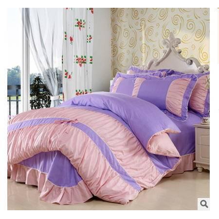 全棉高支高密套件 被套床单纯棉韩版蝴蝶结四件套 优里卡包邮