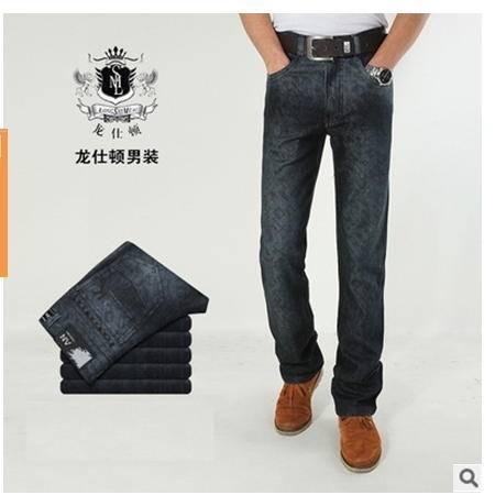 韩版时尚修身直筒男士牛仔裤青春潮流新款男装水洗品牌长裤 龙仕顿