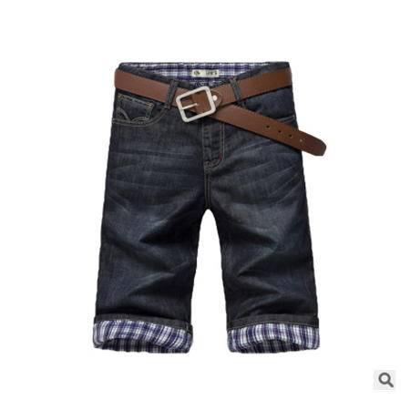 夏季男士直筒修身韩版五分牛仔裤 男式牛仔裤龙仕顿