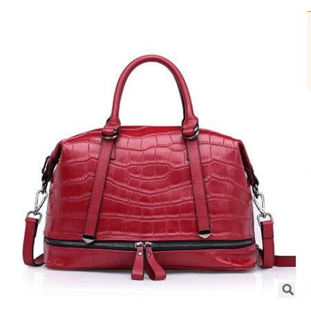 鳄鱼纹手提包单肩斜跨时尚牛皮女包2016春夏新款欧美热款强士利包邮