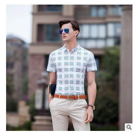 中年男装短袖修身薄款衣服纯棉免烫夏季新款男士翻领衬衫尼奥包邮