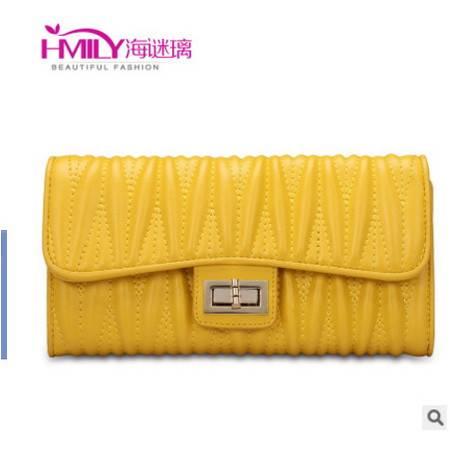 韩版撞色女士手拿包多卡位甜美女包海谜璃HMILY时尚羊皮手抓包包邮
