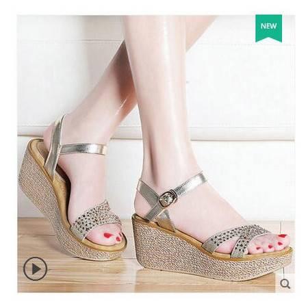 凉鞋女夏季2016新款坡跟水钻一字扣古奇天伦露趾松糕厚底平底女鞋