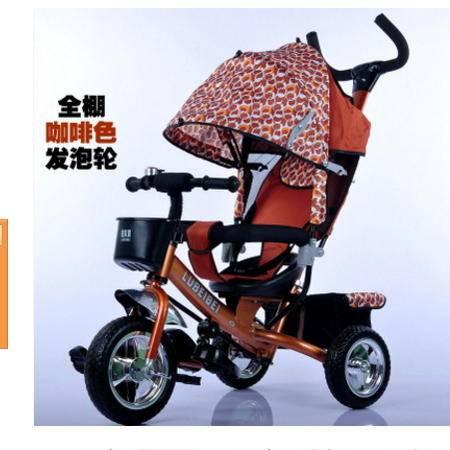 宝宝可坐脚踏手推玩具车016噜贝贝全蓬四合一儿童三轮车充气轮胎爱童