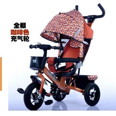 充气轮胎宝宝可坐脚踏手推玩具车2016噜贝贝全蓬四合一儿童三轮车爱童