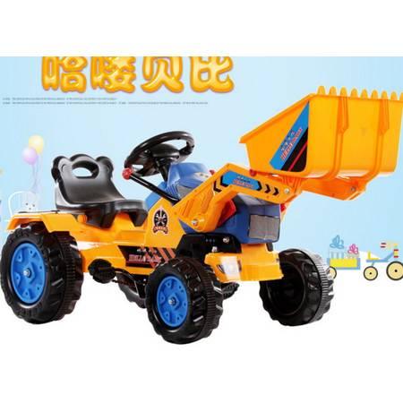 哈喽贝比儿童电动车工程车推土机挖土机推挖两用可坐人带音乐爱童