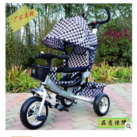 可坐可控方向推车正品充气轮四合一宝宝儿童三轮车脚踏车爱童