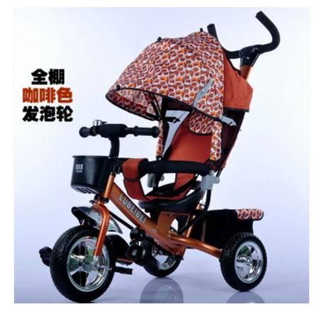可坐人手推玩具车全蓬四合一充气轮胎儿童三轮车宝宝脚踏爱童