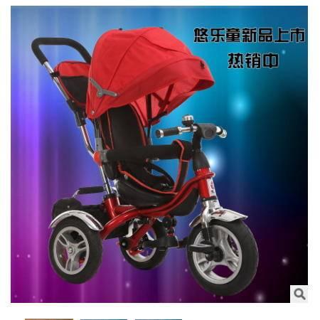 宝宝脚踏手推玩具车正品全蓬四合一充气轮胎婴儿童三轮车爱童