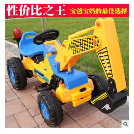 可坐人带音乐红思达儿童可坐工程车电动挖土机推土机两用电动车爱童