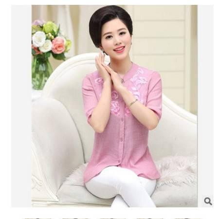 时尚妈妈优雅绣花显瘦大码妈妈装夏夏季新款中老年女装短袖衬衫系卖