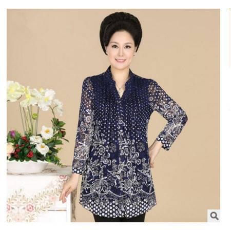 妈妈装春秋中国风修身上衣女中老年女装秋装中袖蕾丝衬衫系卖