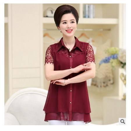 中老年妈妈装开衫纯色大码翻领蕾丝短袖t2016年女装短袖雪纺衬衣 系卖